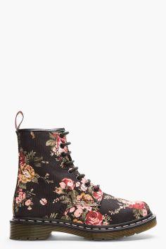 Dr. Martens Black Victorian Flowers 1460 W 8-eye Boots for women | SSENSE