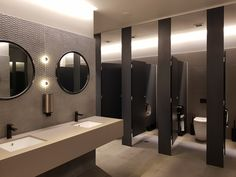 Aqualoo Windsor - Floor to Ceiling with options: & Structural MR MDF / Compact Laminate Office Bathroom, Bathroom Interior, Modern Bathroom, Wc Design, Toilet Design, Washroom Design, Bathroom Design Luxury, Wc Public, Cubicle Design