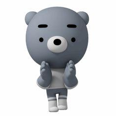 blue bear Gomm – LINE stickers Animated Emojis, Cute Cartoon Pictures, Funny Monsters, Mood Wallpaper, Beautiful Gif, Mood Swings, Line Sticker, Cute Gif, Pixel Art