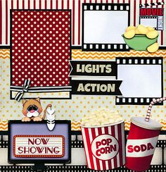 MOVIE NIGHT ~ FAMILY 2 premade scrapbook pages paper piecing layout ~ BY CHERRY