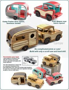 Pallets Woodworking Ideas Scroll Saw Magic 1957 Yellowstone Camper Wood Toy Plan Set Woodworking Toys, Woodworking Projects, Youtube Woodworking, Woodworking Patterns, Woodworking Workshop, Woodworking Techniques, Wood Toys Plans, Woody Wagon, Wood Working For Beginners