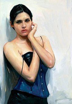 """Dark Eyes"" - Jim Salvati, b. 1957 {contemporary figurative artist beautiful female standing woman painting} salvatidesign.com"