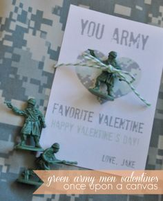 Simple Homemade Little Green Army Men Valentine's Day Cards for Kids.  A cute way to honor the military children and/or soldier in your life, or for any child who loves these little toy soldiers. www.onceuponacanvasblog.com Military Kids, Army, Military Life