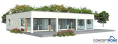 Modern House with simple shapes. Three bedrooms.  Covered terrace to enjoy outside living. Affordable building price.
