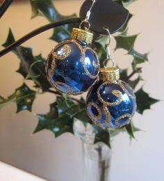Christmas Earrings Blue Christmas Bulb Earrings by SmithNJewels, $13.00
