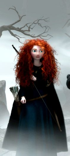 Merida slowly walks through ancient castle ruins with her mother, unaware that they are the very location of the ancient kingdom in her mother's legend.