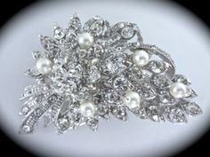 Bouquet Floral Bridal Hair Comb // Rhinestone Crystal Pearl Brooch // Wedding Brooch Comb // Bridal Accessory // Flower Brooch Hair Comb by ForYourSpecialDay, $34.99 **FREE PRIORITY US SHIPPING**