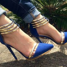 Sexy Royal Blue & Gold Heels