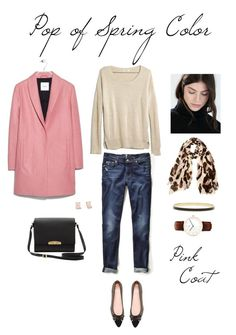 """""""Pop of Spring Color - Pink Coat"""" by bluehydrangea ❤ liked on Polyvore featuring MANGO, Vince Camuto, Madewell, 7 For All Mankind, Stuart Weitzman, Daniel Wellington and Kate Spade"""