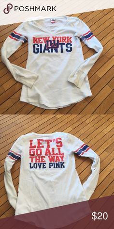 496dc0dc Victoria's Secret PINK NFL NY Giants collection Some wear and tar (no  tars), it's a waffle type too PINK Victoria's Secret Tops Tees - Long Sleeve