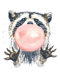 Raccoon Watercolor Illustration PRINT - 11x14 Print, Pink Bubble Gum, Cute Nursery Art