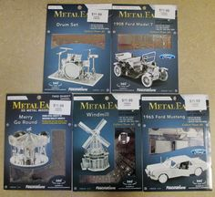 Helicopters 158748: 5 Set Metal Earth 3D Models Windmill, Merry Go Round, Drum Set, Model T, Mustang -> BUY IT NOW ONLY: $44.99 on eBay!