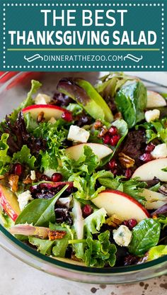This Thanksgiving salad is a blend of mixed greens, fresh apples, pomegranate seeds, blue cheese and candied pecans, all tossed in a homemade vinaigrette. Thanksgiving Salad, Candied Pecans, Pomegranate Seeds, Fresh Apples, Blue Cheese, Tossed, Vinaigrette, Cobb Salad, Salads