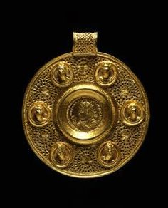 Circular Pendant with Double Solidus of Constantine I :  Early Byzantine   Medallion: 324; Pendant: ca. 370-390