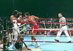 """Ali had told his trainer, Angelo Dundee, and his fans he had a secret plan for Foreman. From the second round Ali frequently began to lean on the ropes and cover up, letting Foreman punch him on the arms and body, sapping his strength on punches that did little damage with Ali's head protected. Ali dubbed the tactic """"rope-a-dope"""""""