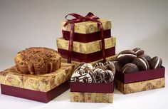 World of Thanks Tower Distinctively Delightful! Perk up the office, thank your house sitter or send this just because...it's delicious! The perfect size for snacking. Includes:  1.5 lb. Cinnamon Walnut Coffee Cake  6 - Boston Whoopie Pies  8 - Gourmet Chocolate Covered Pretzels  3 Tier Tower