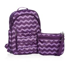Her Deluxe Backpack in Plum Chevron for $45 - With this Hostess Exclusive, organization is twice as fun! The backpack does the heavy lifting with 4 exterior pockets and a thermal-lined interior pocket -  perfect for snacks. Need something a little smaller? Grab the coordinating Mini Crossbody! You can only get it when you host a party, so contact your Consultant to book yours today! Via @thirtyonegifts