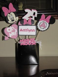 Minnie Mouse Centerpieces-easy with the right Cricut cartridge!