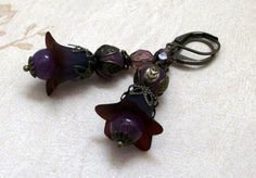 Wild Berry Frosted Lily Lucite Flower Dangle Earrings by Dean Designs $18.00