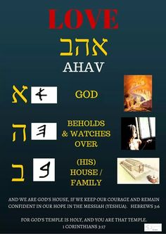 Understanding the word love = ahav in Hebrew Biblical Hebrew, Hebrew Words, Adonai Elohim, Learning Methods, Learn Hebrew, Spiritus, Word Study, Torah, Judaism