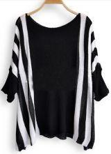Black White Broken Stripe Batwing Sleeve Pullovers Sweater #SheInside