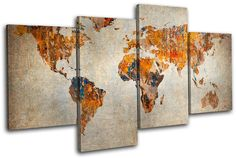 World Map Wall Decor | Grunge-World-Atlas-Maps-Flags-MULTI-CANVAS-WALL-ART-Picture-Print-VA