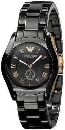 Emporio Armani Ladies Black And Rose Gold Dial Ceramic Watch AR1412