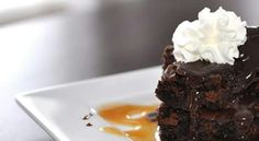 Brownies with chocolate sauce and whip cream