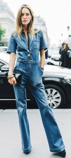 PFW 2016-Street_Style Erin Wasson wearing Stella McCartney Denim Jumpsuit