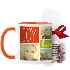 Joy Love Family Mug, Orange, with Ghirardelli Peppermint Bark, 11 oz
