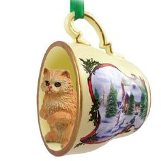 Persian Red Cat Tea Cup Holiday Snowman