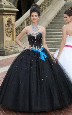 Mitte Rücken Herz-Ausschnitt Perlenbesetztes ewiges sexy Quinceanera Kleid