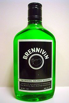 """Brennivín.    My boss just brought me this from a vacation he was on.  It's sometimes called """"Black Death,"""" and has a """"dubious reputation.""""  Can't wait to try it!  >:)"""