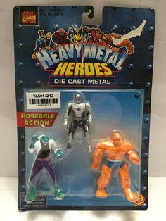 (TAS014212) - 1999 Marvel Comics Heavy Metal Heroes Die Cast Metal 3-pk