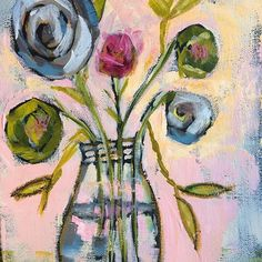 """Choose to make small positive changes, not excuses."" @kimdawesyoga . Today's featured painting at 50% off. Use code SEPT50 at checkout. Link in bio. ""Spring Flowers Jar"" Acrylic on Canvas. 8 x 10. Original price $40. #30paintingsin30days #septemberartsale #pamwingard #barefootstudios #whimsicalart #floralart #artlicensingshow @artlicensingshow"