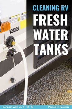 Hacks to sanitize and clean your RV fresh water tanks and dump motorhome grey and black water tanks. How to organize and keep your 5th wheel clean. Best travel accessories for your camper or toy hauler. Ideas to make the best road trip travel vacation for your whole family. Beginner guide to motor homes. Gmc Motorhome, Camper Water Tank, Rv Travel, Adventure Travel, Rv Water Heater, Best Travel Accessories, Fresh Water Tank