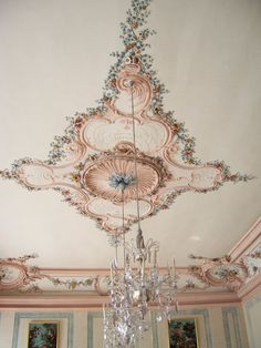 Lovely ceiling detail and chandelier in Rundale Palace, Latvia.