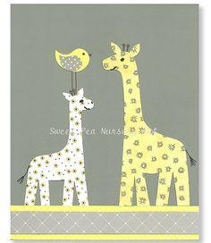 Yellow and Gray Nursery, Giraffe Nursery, Jungle Nursery, Grey and yellow nursery,  8 x 10 Print, Cute nursery art via Etsy