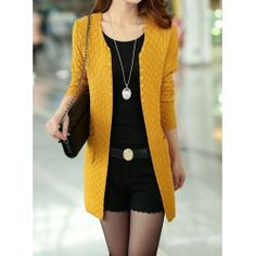 Fashionable Long Sleeve Solid Color Button Embellished Women's Cardigan