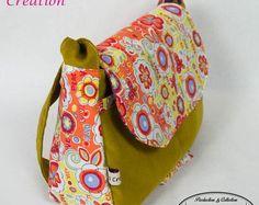 Sac besace molletonné en velours moutarde, Coton Peace&Love et tissu coton Madras intérieur Tendance et Vintage avec anse