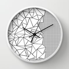 Abstraction Outline Grid on Side White Wall Clock #abstract #abstraction #geometric #triangles #black #white #grid #squares