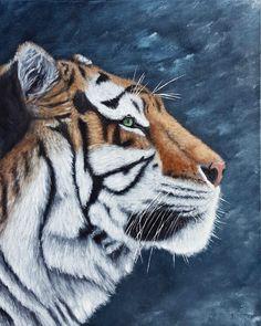 Siberian Tiger Acrylic painting by Brian Sloan Tiger Painting, Acrylic Painting Canvas, Canvas Art, Wildlife Paintings, Wildlife Art, Gato Grande, Most Beautiful Animals, Beautiful Horses, Tiger Art