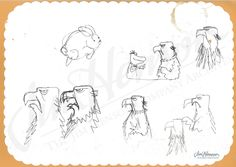 Sam the Eagle sketches by Jim Henson
