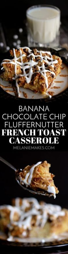 This make ahead Banana Chocolate Chip Fluffernutter French Toast Casserole is the perfect dish to serve your holiday guests for breakfast or brunch. Bananas, chocolate chips, peanut butter and marshmallows are tucked into the nooks and crevices of custard soaked bread before being baked to golden goodness.