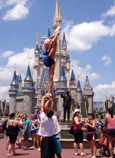 cheer bucketlist: stunting in front of cinderella's castle in disneyworld<3