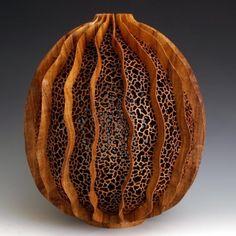 J Paul Fennel | 'de la Mer 08' Turned, carved mesquite wood
