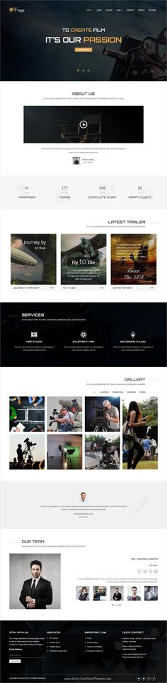 Ftage is clean and modern design 4in1 responsive #WordPress theme for #filmmakers, film studios, #movie campaigns, video production and marketing company website to live preview & download click on Visit