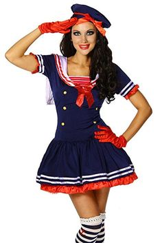 Maritimes Kostüm-Set `Matrose` für Karneval und Fasching mit Kleid und Mütze A12388, Größe:34-38;Farbe:dunkelblau
