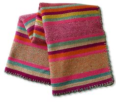 Similar to Bolivian Frazadas, these Peruvian textiles are heavy enough to be floor rugs or are perfect for the foot of a bed. The bright colors with interspersed woven designs add the perfect well-tra