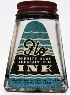 Vintage Flo Midnite Blue Fountain Pen Ink Bottle